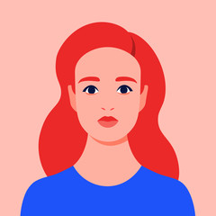 Portrait of a redhead woman. Avatar of a girl. Colorful portrait. Student of the university. Vector flat illustration