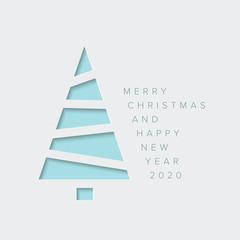 Minimalistic Christmas card with christmas tree