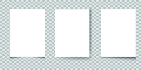 Set of White blank paper A4 sheets with realistic shadows , vector illustration