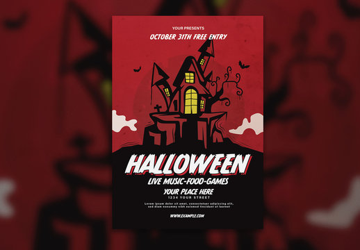 Halloween Flyer Layout with Illustrative Elements