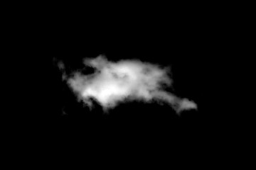 Cloud isolated on a black background for making texture brushes monochrome image
