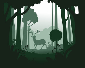 Vector landscape with deep forest plantation and deer.