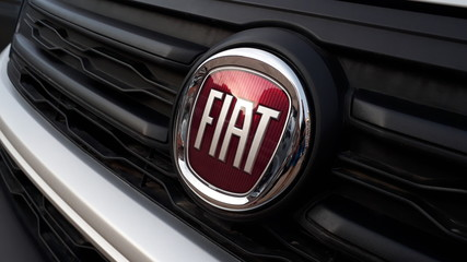 Valencia, Spain - January 18, 2019: Emblem of Fiat on the radiator of a parcel van.