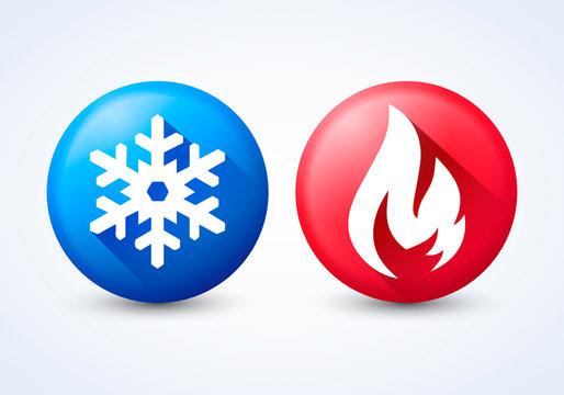 Vector illustration modern 3D hot and cold icon set with flame and snowflake