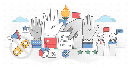 Democracy outline concept vector illustration