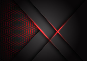 Abstract grey metallic overlap red light hexagon mesh design modern luxury futuristic technology background vector illustration.