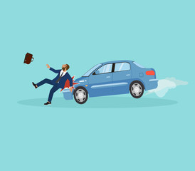 Papiers peints Cartoon voitures Vector of a businessman being hit by a car.