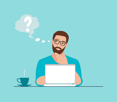 Vector of a thoughtful man working on laptop at workplace having some questions