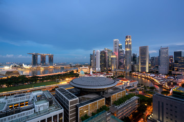 Panorama of Singapore business district skyline and Singapore skyscraper with Supreme Court in...