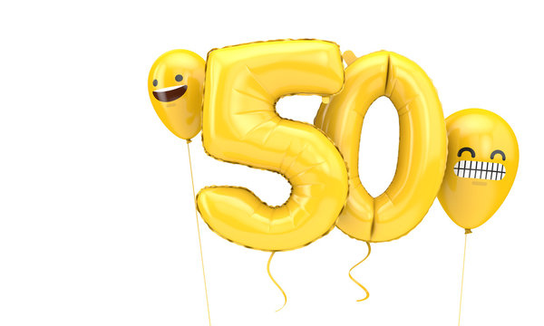 Number 50 birthday ballloon with emoji faces balloons. 3D Render