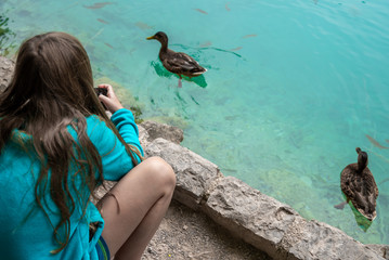 Young girl looking at the surface of a turquoise lake and taking a picture of swimming ducks and fish.People on the trip.  Nature, landscape, outdoor.
