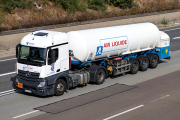 FRANKFURT AM MAIN, GERMANY - September 22, 2018: Air Liquide truck on motorway. Air Liquide is a French multinational company which supplies industrial gases and services to various industries.