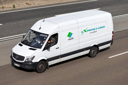 FRANKFURT AM MAIN, GERMANY - September 22, 2018: Simile van on motorway. Simile UAB offers express cargo door-to-door delivery, transportation and logistics services within Europe.