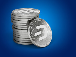 Pile or stack of silver Dash coins with 2019 logo update, isolated on blue background. One coin is turned towards the viewer. New virtual money. 3D rendering