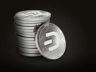 Pile or stack of silver Dash coins with 2019 logo update, isolated on black background. One coin is turned towards the viewer. New virtual money. 3D rendering