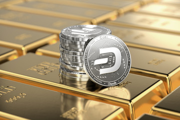 Dash coins (with 2019 updated logo) are laying on stacked gold bars or ingots.Highly desirable cryptocurrency concept. 3D rendering