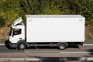 WIEHL, GERMANY - September 29, 2018: Mercedes-Benz Atego on motorway. The Mercedes-Benz Atego is a range of general-purpose rigid trucks introduced by Mercedes-Benz in 1998.