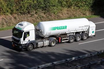 WIEHL, GERMANY - September 29, 2018: Praxair truck on motorway. Praxair is an American worldwide industrial gases company, the third-largest worldwide by revenue.