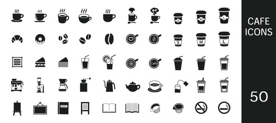Simple cafe icon set 50