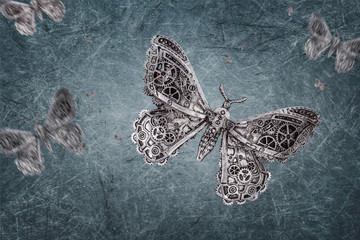 Fotorolgordijn Vlinders in Grunge steampunk grunge Backdrop grey - Butterfly