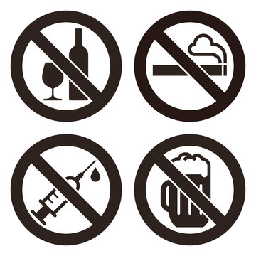 No alcohol sign, No smoking sign, No alcohol sign and No beer sign