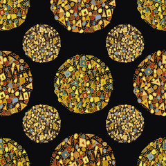Beautiful abstract gold circles created from triangles, squares and dots. Seamless vector pattern on black background. Bejewelled art deco style. Great for stationery, giftwrap, concept, packaging