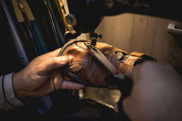 Traditional shoe making in workshop,stock photo