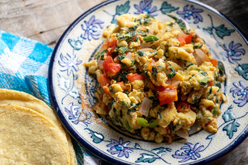 Mexican food: Scrambled eggs with chaya