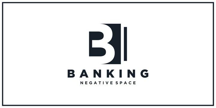 b negative square space. banking logo