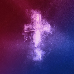 Christian cross symbol Red Blue. Abstract night sky background.