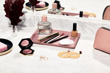 Still life minimal beauty products
