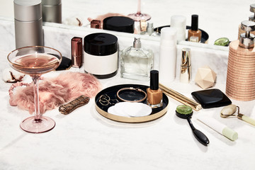 Cosmetics in a bathroom