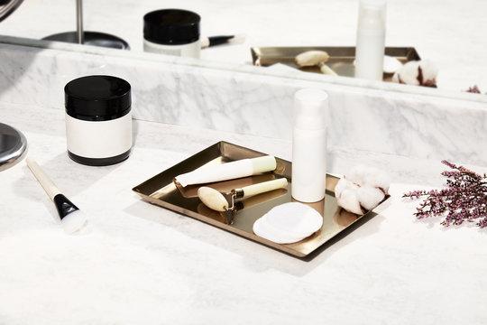Minimal beauty products still life