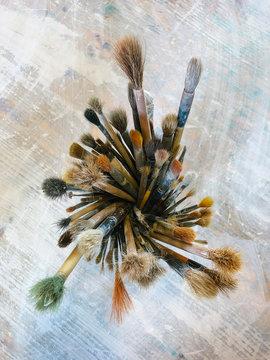 Still life Artist Paint Brush in Painting Studio