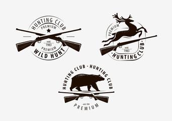 Set of hunting club labels. Hunt logo. Vector illustration