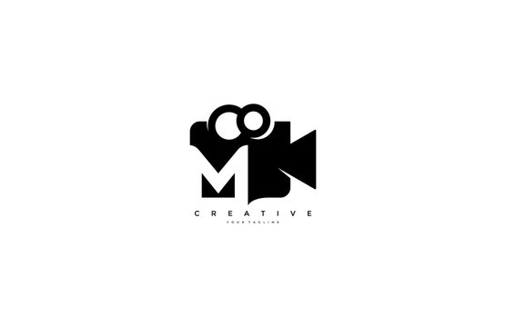 Letter M video camera logo design simple minimalist