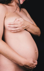 Anonymous detail of pregnant woman