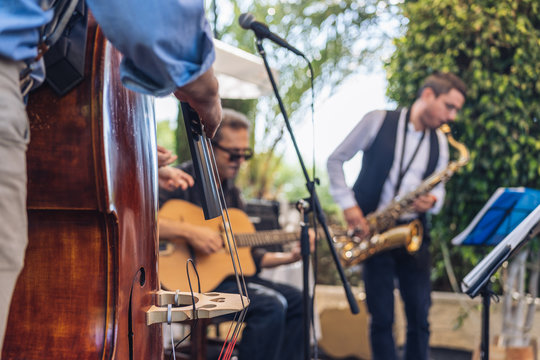 band of jazz and swing on stage outdoor