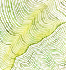 Watercolor green lines abstract painting