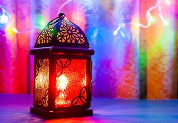 Arabic lantern in colorful background. Ramadan, Eid concept background
