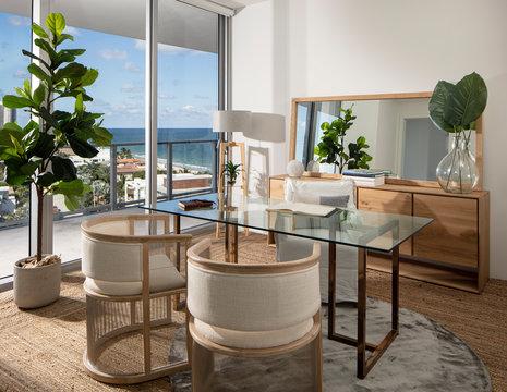 Warm apartment study overlooking ocean