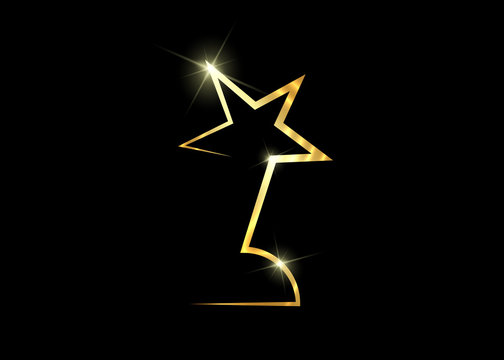 HOLLYWOOD  Movie PARTY Gold STAR AWARD Statue Prize Giving Ceremony. Golden stars prize concept, Silhouette statue icon. Films and cinema symbol stock, Academy award vector isolated or black