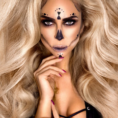 Halloween Sexy Witch portrait. Beautiful young woman in witches makeup with long curly colorful hair and bright lips. Wide Halloween party art design - Image