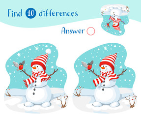 Illustration with snowmen, bullfinch and snowfall. Find 10 differences.