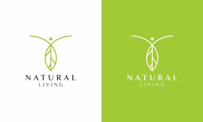Clean logo design of nature live and healthy living with white background - EPS10 - Vector.