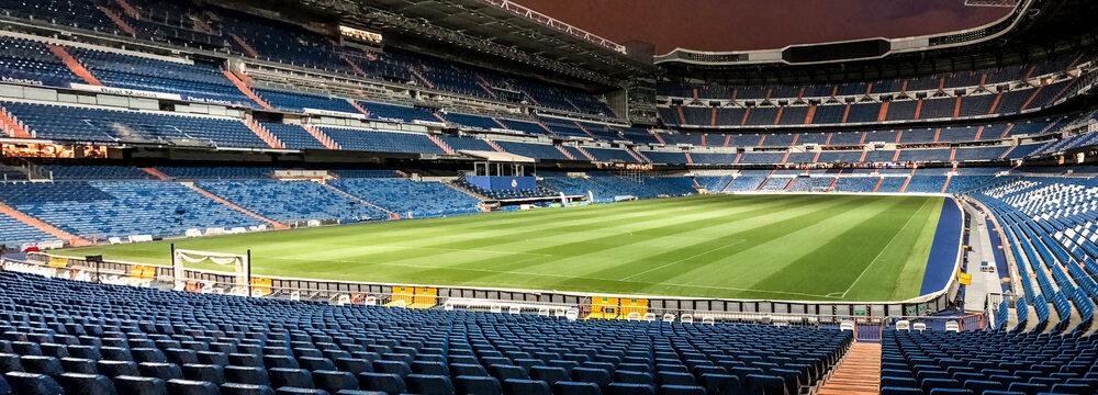 Panoramic view of Santiago Bernabeu stadium at night