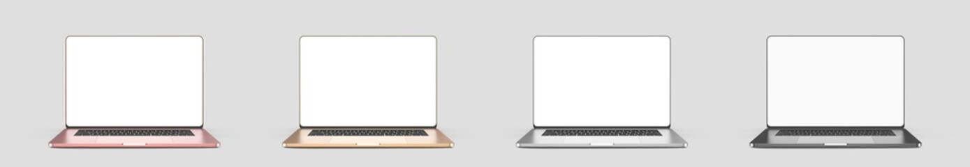 Set of laptops, templates on a white background. Model, design