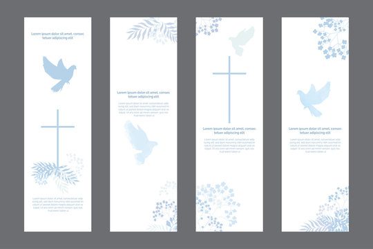 Doves and flowers religious white bookmarks set, christian templates kit, universal design