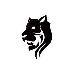 Six line head tiger animal inspiration  illustration logo set,face tiger angry