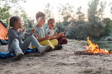 Group of young friends camping and burning a wood fire Wall mural